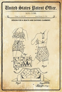 US Patent Office - Design for a Beach and Bathing Garment - Entwurf für Strand- und Badebekleidung - Cobb, 1944 - Design No 2.341.596 - Blechschild