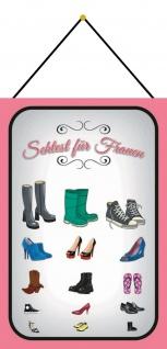 Blechschild Sehtest für Frauen Schuhe Metallschild Deko 20x30 mit Kordel