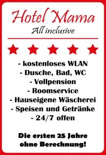 Blechschild Spruch Hotel Mama weiß-rotes Metallschild 20x30 Deko tin sign