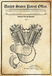US Patent Office - Design for An Engine - Entwurf für ein Motor - Harley, Wisconsin 1923 - Design No 1.472.068 - Blechschild