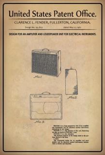Blechschild Patent Entwurf für Verstärker- Fender Metallschild Wanddeko 20x30 cm tin sign