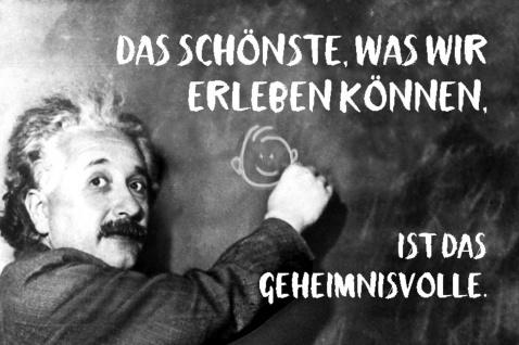 Blechschild Spruch Das schönste Geheimnisvolle Einstein Metallschild Wanddeko 20x30 cm tin sign