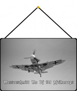 Blechschild Messerschmidt Me Bf 109 Afrika Metallschild Deko 20x30 mit Kordel