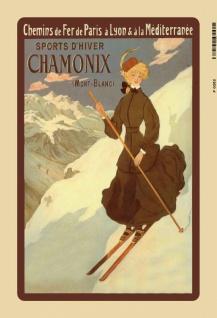 Chamonix Ski Urlaub skifahren Mont Blanc blechschild
