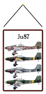 Blechschild Flugzeug JU 87 Luftwaffe Metallschild Wanddeko 20x30 mit Kordel