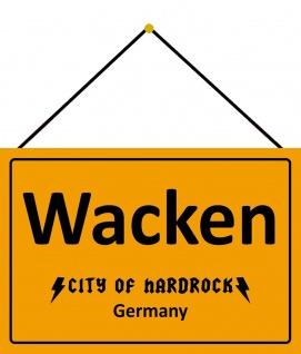 Blechschild Wacken City of hardrock germany Metallschild 20x30 Deko mit Kordel