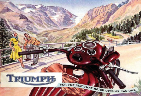 Triumph motorrad motorcycle touren in die bergen blechschild