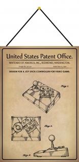 Blechschild Patent Entwurf Joystick für Videospiele Metallschild 20 x 30 Kordel