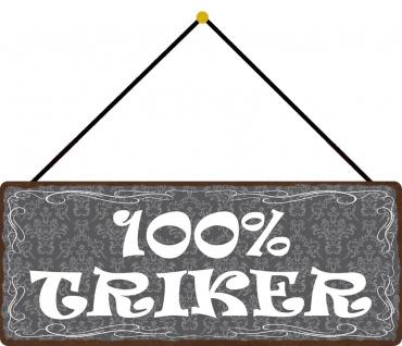 Schatzmix Blechschild Spruch 100% Trinker Metallschild 27x10 Wanddeko tin sign mit Kordel