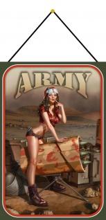 Blechschild Pinup Military army Girl rocket launcher Metallschild 20x30 m.Kordel