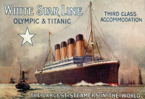 Titanic Olympic largest steamers in the world schiff boot White Star Line blechschild