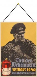 Blechschild Tag der Wehrmacht 17 März 1940 Soldat Metallschild 20x30 mit Kordel