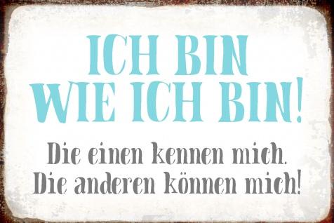 Blechschild Spruch Ich bin wie ich bin! Metallschild Wanddeko 20x30 cm tin sign