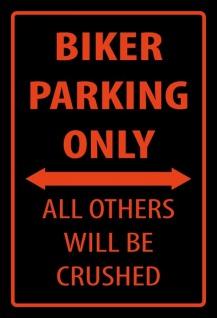 Biker parking only Metallschild Wanddeko 20x30 cm tin sign