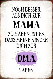 Blechschild Spruch besser als Mama - Oma Metallschild Wanddeko 20x30 cm tin sign