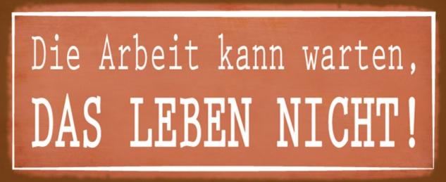 Blechschild Spruch Arbeit kann warten Leben nicht Metallschild 27x10 cm Wanddeko tin sign