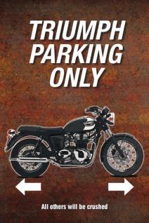 Blechschild Motorrad Triumph Parking only rostbraunes Metallschild Wanddeko 20x30 cm tin sign