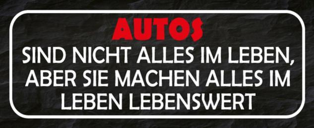 Blechschild Spruch Autos Leben Lebenswert Metallschild 27x10 cm Wanddeko tin sign