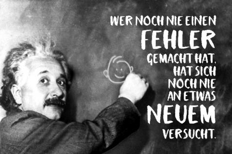 Blechschild Spruch Wer noch nie einen Fehler Einstein Metallschild Wanddeko 20x30 cm tin sign