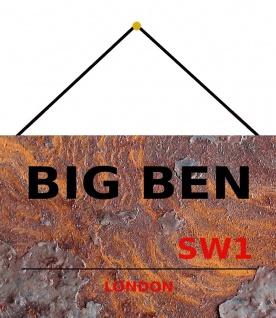 Blechschild London Street Sign Big Ben London rust Metallschild 20x30 mit Kordel
