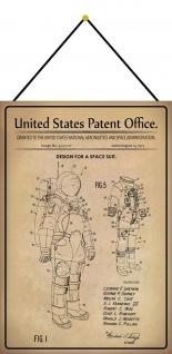 Blechschild Patent Entwurf Weltraumanzug Metallschild Deko 20 x 30 m.Kordel