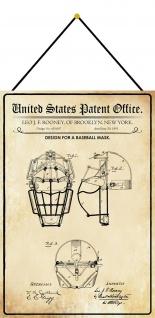 Blechschild Patent Entwurf für eine Baseball Maske 2 Deko 20 x 30 m.Kordel