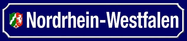 Nordrhein-Westfalen strassenschild Bundesland mit Wappen blechschild 46x10cm