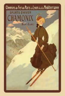 Nostalgie: Chamonix Ski Mont Blanc Wintersport Blechschild 20x30 cm