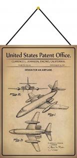 Blechschild Patent Entwurf Passagier - Flugzeug Metallschild 20 x 30 m.Kordel