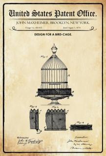 Blechschild Patent Entwurf für Vogelkäfig-Maxheimer Metallschild Wanddeko 20x30 cm tin sign