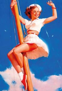 Nostalgie in up sexy Frau auf Schiffsmast Blechschild 20x30cm