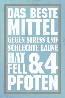 Blechschild Spruch Mittel gegen Stress Miese Laune Metallschild Wanddeko 20x30 cm tin sign
