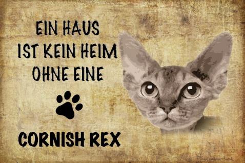Ein haus ist kein heim ohne eine Cornish rex katze blechschild