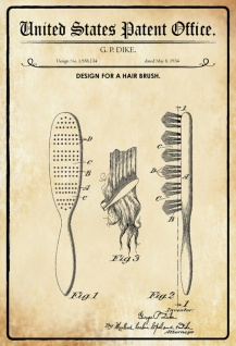 US Patent Office - Design for A Hair Brush - Entwurf für ein Haarburste - Dike, 1934 - Design No 1.959.134 - Blechschild