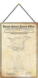 Blechschild Patent Entwurf für eine Flugmaschine 2Metallschild 20 x 30 Kordel