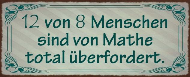 Blechschild 12 von 8 Menschen sind von Mathe total überfordert Metallschild Wanddeko 27x10 cm tin sign