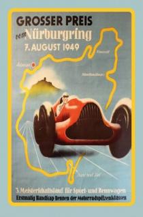 Nostalgie: Großer Preis Nürburgring 1949 Blechschild 20x30 cm