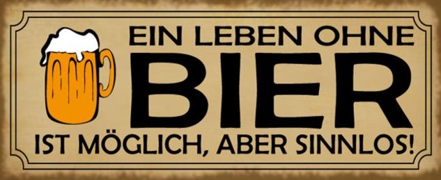 Blechschild Spruch Bier Leben Sinnlos Metallschild 27x10 cm Wanddeko tin sign