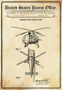 Blechschild Patent Entwurf Helicopter Metallschild Wanddeko 20x30 cm tin sign