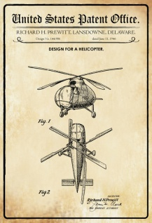 US Patent Office - Design for a Helicopter - Entwurf für ein Hubschrauber - Richard Prewitt, Delaware 1946 - Design No 144.986 - Blechschild