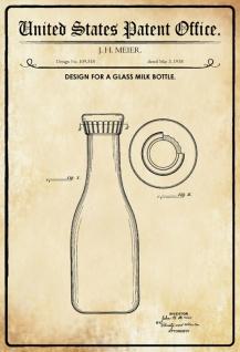 US Patent Office - Design for A Glass Milk Bottle - Entwurf für ein Glasflasche für Milch - Meier, 1938 - Design No 109.518 - Blechschild