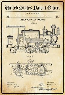 Blechschild Patent Entwurf für Lokomotive Zug Metallschild Wanddeko 20x30 cm tin sign