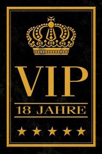 Blechschild Spruch VIP 18 Jahre Geburtstag Metallschild Wanddeko 20x30 cm tin sign