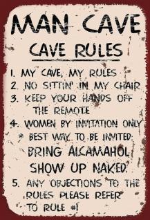 Man Cave Rules Spruchschild Blechschild 20x30 cm