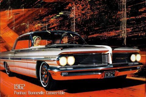 Pontiac Bonneville Convertible 1962 Auto reklame blechschild, us, weiss, cabriolet