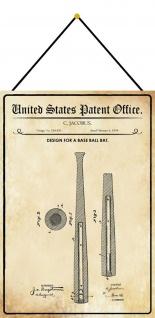 Blechschild Patent Entwurf für einen Baseballschläger Deko 20 x 30 m.Kordel