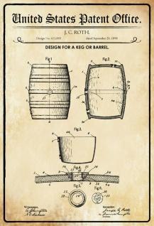 Blechschild Patent Entwurf Barrel-Bier -Fass Metallschild Wanddeko 20x30 cm tin sign
