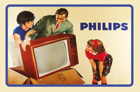 Philips fernseher reklame mit familie blechschild