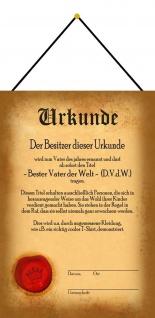 Blechschild Urkunde Beste Vater der Welt Metallschild Wanddeko 20x30 mit Kordel