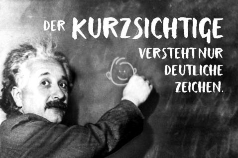 Blechschild Spruch Der Kurzsichtige versteht Einstein Metallschild Wanddeko 20x30 cm tin sign